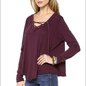 Free People Purple Lace Up Corded Tie Up Tee